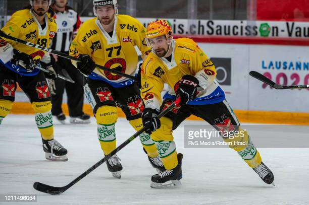 Mark Arcobello of SC Bern in action during the Swiss National League game between Lausanne HC and SC Bern at Vaudoise Arena on February 29, 2020 in...