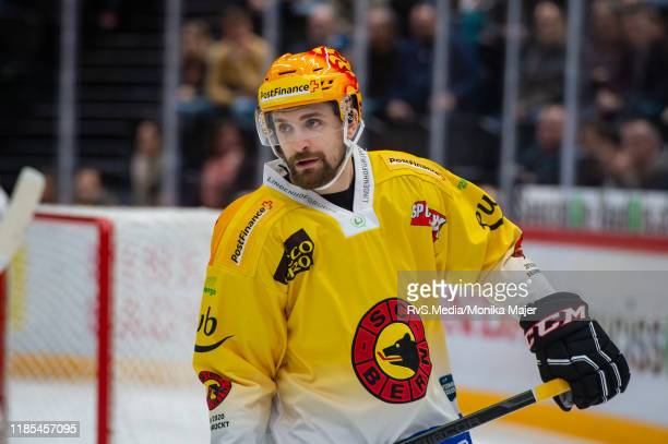 Mark Arcobello of SC Bern looks on during the Swiss National League game between Lausanne HC and SC Bern at Vaudoise Arena on November 1, 2019 in...