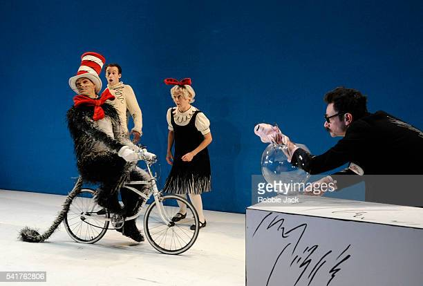 Mark Arends as The Boy Helena Lymbery as Sally Justin Salinger as Fish in the Bowl and Angus Wright as The Cat in the Hat in the production of Dr...