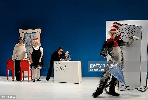 Mark Arends as The BoyHelena Lymbery as Sally Justin Salinger as Fish in the Bowl and Angus Wright as The Cat in the Hat in the production of Dr...