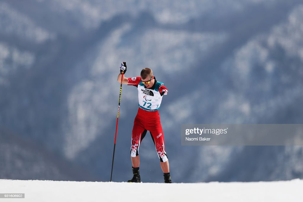 Mark Arendz of Canada competes during the Men's Biathlon 12.5km standing during day four of the PyeongChang 2018 Paralympic Games on March 13, 2018 in Pyeongchang-gun, South Korea.