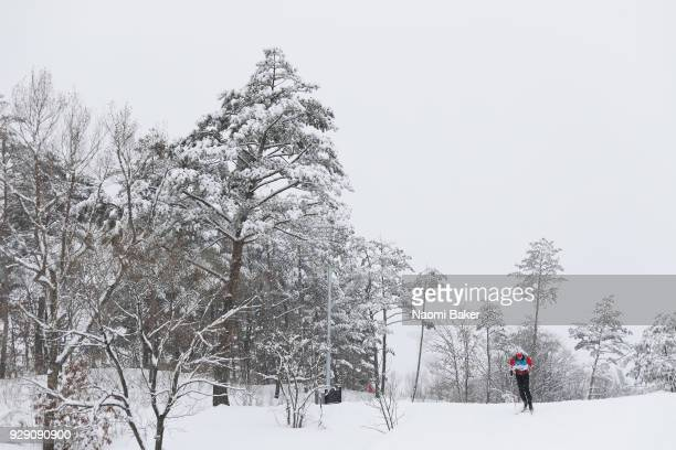 Mark Arendz of Canada in action during a Biathlon training session ahead of the PyeongChang 2018 Paralympic Games on March 8 2018 in PyeongChang...