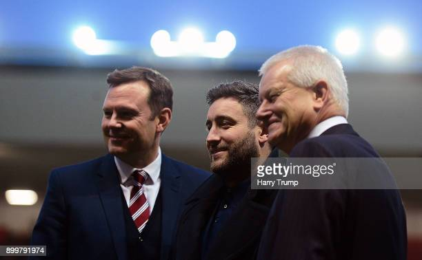 Mark Ashton, Chief Executive of Bristol City, Lee Johnson, Manager of Bristol City and Steve Lansdown, Owner of Bristol City pose for a photograph...