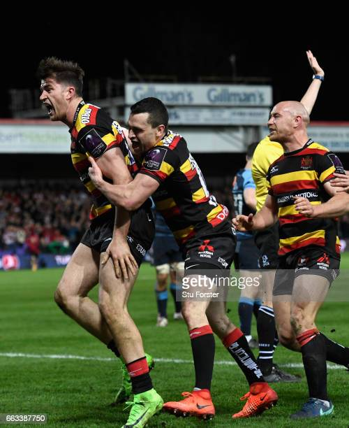 Mark Atkinson of Gloucester celebrates his try during the European Rugby Challenge Cup match between Gloucester Rugby and Cardiff Blues at Kingsholm...