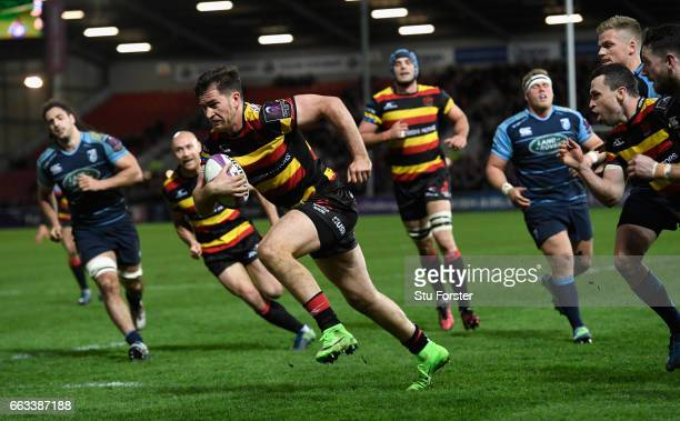 Mark Atkinson of Gloucester dives over to score during the European Rugby Challenge Cup match between Gloucester Rugby and Cardiff Blues at Kingsholm...