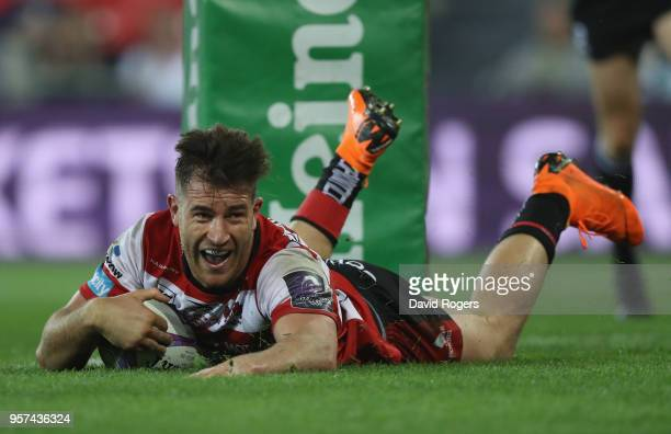 Mark Atkinson of Gloucester Rugby scores the second try during the European Rugby Challenge Cup Final match between Cardiff Blues and Gloucester...