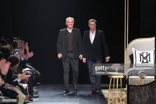 Mark Badgley and James Mischka greet the audience after presenting the Badgley Mischka Fall 17 Collection at Gallery 1 Skylight Clarkson Sq on...