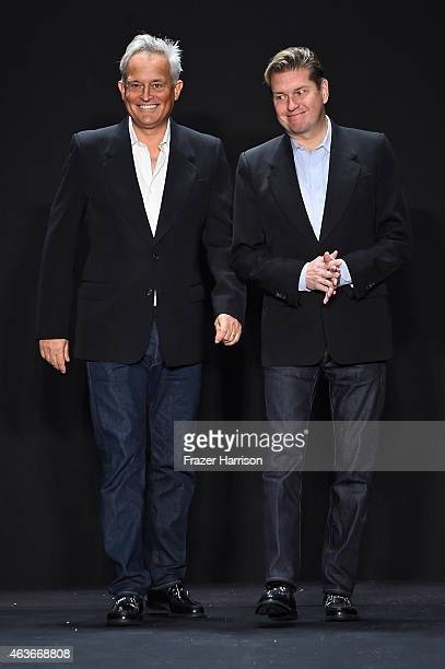Mark Badgley and James Mischka walk the runway at the Badgley Mischka fashion show during MercedesBenz Fashion Week Fall 2015Theatre at Lincoln...