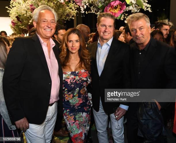 Mark Badgley Hilaria Baldwin James Mischka and Alec Baldwin attend the Badgley Mischka Spring 2019 Runway Show during New York Fashion at Gallery I...