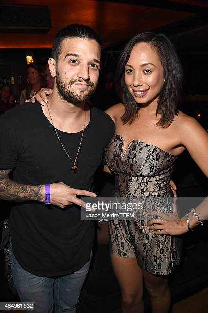 Mark Ballas and Cheryl Burke attend a private event at Hyde Staples Center hosted by Tommy Bahama during the Taylor Swift concert on August 22 2015...