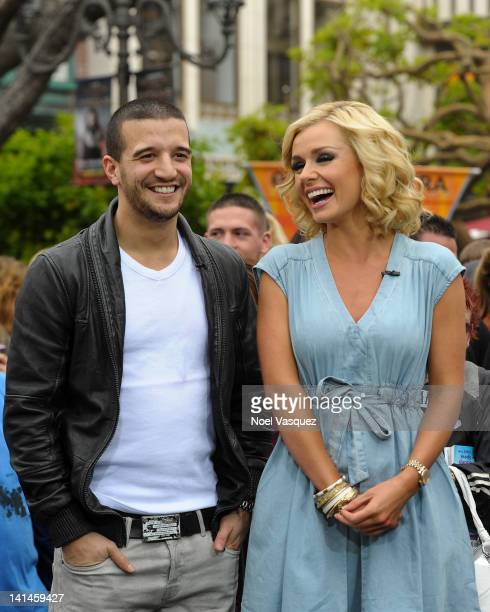 Mark Ballas and Katherine Jenkins visit Extra at The Grove on March 16 2012 in Los Angeles California
