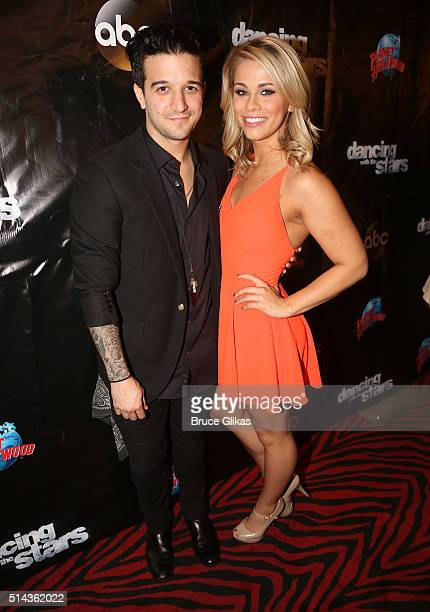 """Mark Ballas and partner Paige VanZant pose at the 22nd Season Stars of ABC's """"Dancing With The Stars"""" cast announcement at Planet Hollywood Times..."""