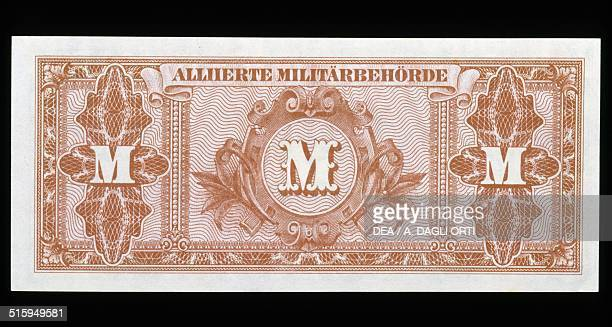 1000 mark banknote Allied military occupation reverse letter M Germany 20th century