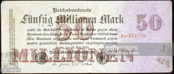 Mark banknote issued in Germany during a period between 1918 and January 1924 the German mark suffered hyperinflation It caused considerable internal...