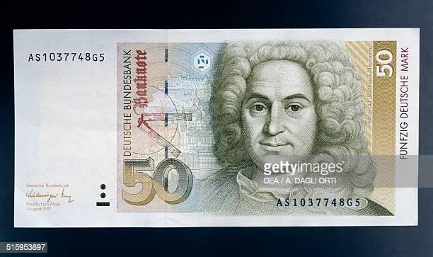 50 mark banknote obverse Johann Balthasar Neumann Germany 20th century
