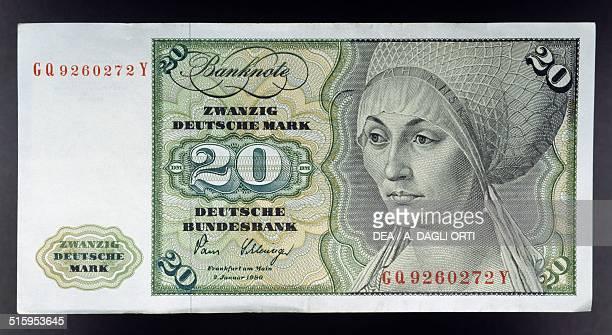 20 mark banknote obverse portrait of Elsbeth Tucher by Albrecht Durer Germany 20th century