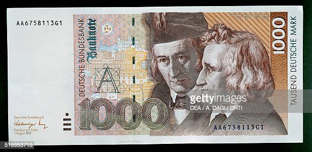 1000 mark banknote obverse Wilhelm and Jacob Grimm Germany 20th century