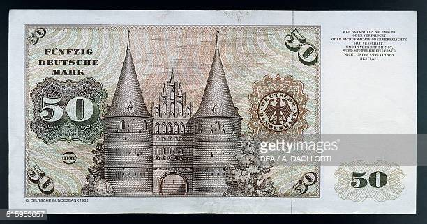50 mark banknote reverse the Holstentor in Lubecca Germany 20th century