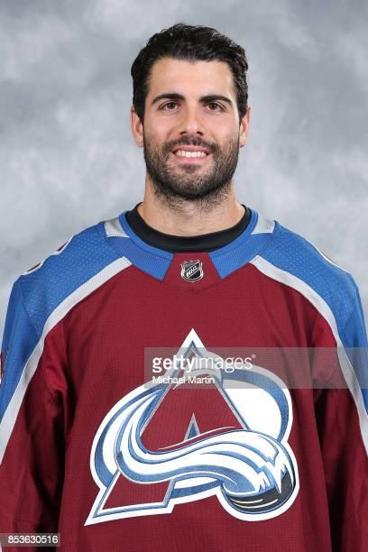 Mark Barberio of the Colorado Avalanche poses for his official headshot for the 20172018 NHL season on September 14 2017 at the Pepsi Center in...