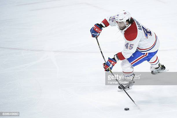 Mark Barberio of the Montreal Canadiens passes the puck against the Minnesota Wild during the third period of the game on January 12 2017 at Xcel...
