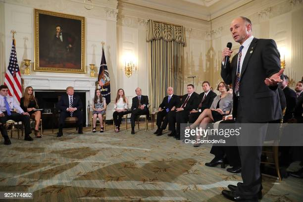 Mark Barden founder and managing director of Sandy Hook Promise speaks during a listening session hosted by US President Donald Trump with suvivors...