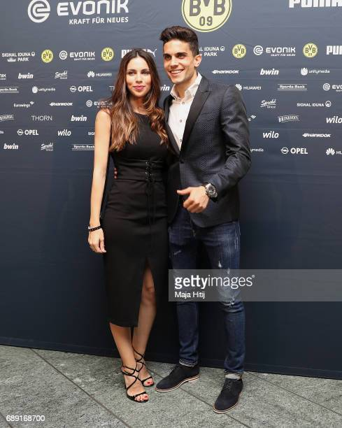 Mark Bartra and his girlfriend Melissa Jimenez arrive for the Borussia Dortmund champions party at the Grand Hyatt Hotel following their DFB Cup...