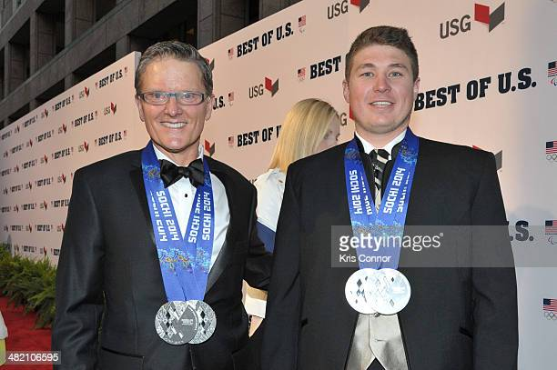 Mark Bathum and Cade Yamamoto walk the red carpet during the U.S. Olympic Committee's Best of U.S. Awards at Warner Theatre on April 2, 2014 in...