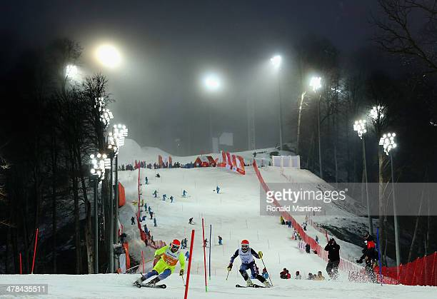 Mark Bathum of the United States and guide Cade Yamamoto compete in the Men's Slalom 2nd Run - Visually Impaired during day six of Sochi 2014...