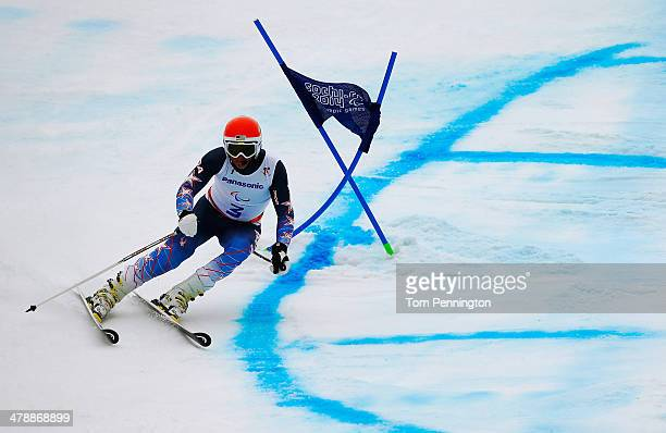 Mark Bathum of the United States competes in the Men's Giant Slalom Visually Impaired during day eight of the Sochi 2014 Paralympic Winter Games at...