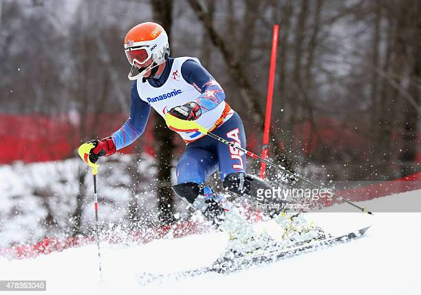 Mark Bathum of the United States competes in the Men's Slalom 1st Run - Visually Impaired during day six of Sochi 2014 Paralympic Winter Games at...