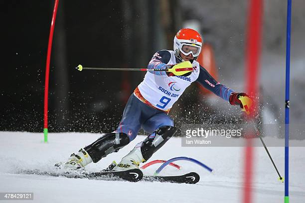 Mark Bathum of the United States competes in the Men's Slalom 2nd Run - Visually Impaired during day six of Sochi 2014 Paralympic Winter Games at...