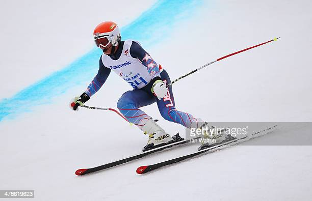 Mark Bathum of the United States competes in the Men's Super Combined Visually Impaired Super G during day seven of the Sochi 2014 Paralympic Winter...
