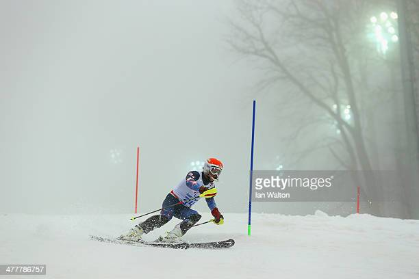 Mark Bathum of United States competes in the Men's SC Slalom Run 1, Visually Impaired during day four of Sochi 2014 Paralympic Winter Games at Rosa...
