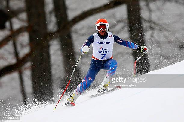 Mark Bathum of USA competes in the Men's Super G - Visually Impaired during day two of Sochi 2014 Paralympic Winter Games at Rosa Khutor Alpine...