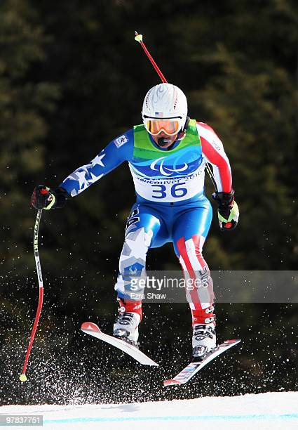 Mark Bathum of USA competes in the Men's Visually Impaired Downhill during Day 7 of the 2010 Vancouver Winter Paralympics at Whistler Creekside on...