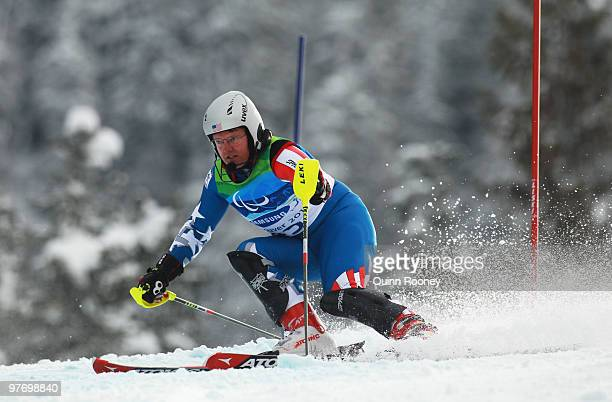 Mark Bathum of USA competes in the Men's Visually Impaired Slalom during Day 3 of the 2010 Vancouver Winter Paralympics at Whistler Creekside on...