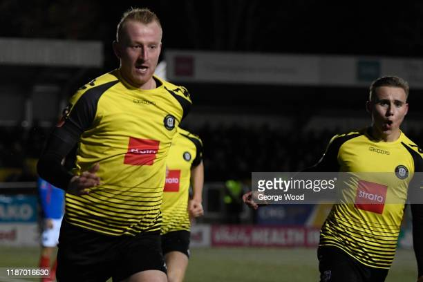 Mark Beck of Harrogate Town celebrates after scoring his sides first goal during the FA Cup First Round match between Harrogate Town A.F.C and...