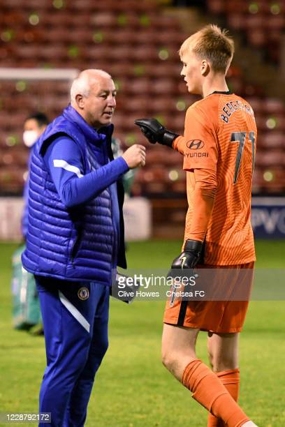 Mark Beeney of Chelsea congratulates Lucas Bergstrom after the penalty shoot out during the Chelsea Development Squad v Walsall EFL Trophy match at...