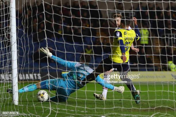 Mark Beevers of Bolton scores his sides second goal during the Sky Bet League One match between Oxford United and Bolton Wanderers at the Kassam...