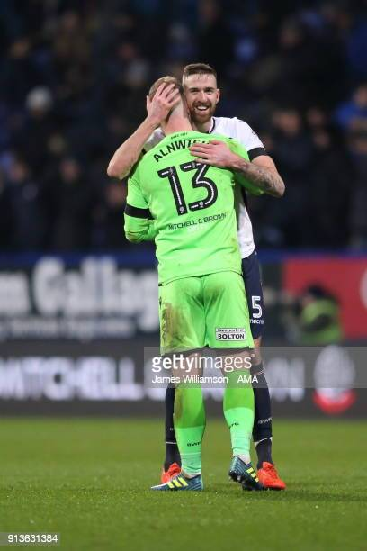 Mark Beevers of Bolton Wanderers and Ben Alnwick of Bolton Wanderers during the Sky Bet Championship match between Bolton Wanderers and Bristol City...