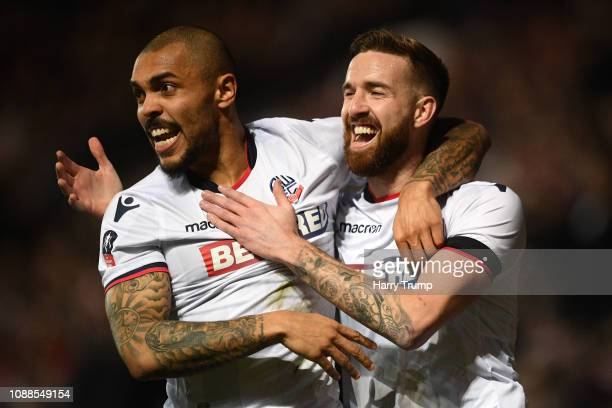 Mark Beevers of Bolton Wanderers celebrates scoring the first Bolton goal with Josh Magennis of Bolton Wanderers during the FA Cup Fourth Round match...