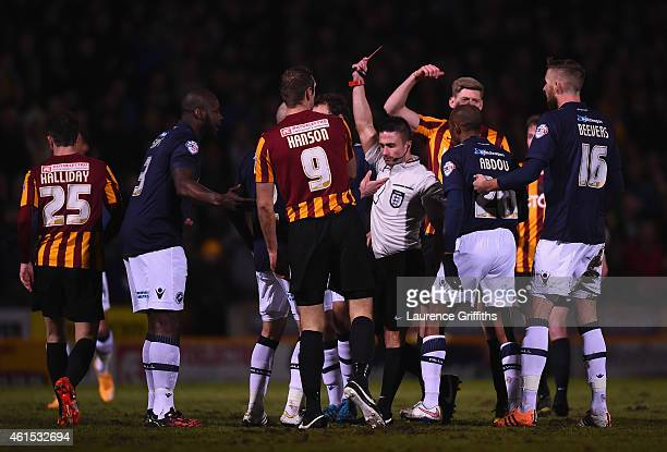 Mark Beevers of Millwall is sent off by Referee James Adcock during the FA Cup Third Round Replay between Bradford City and Millwall at Coral Windows...