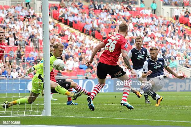 Mark Beevers of Millwall scores a goal to make it 21 during the Sky Bet League One Play Off Final between Barnsley and Millwall at Wembley Stadium on...