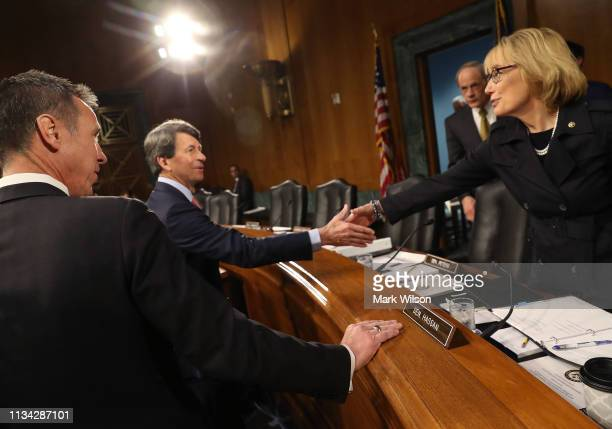 Mark Begor CEO of Equifax and Arne Sorenson CEO of Marriott International are greeted by Sen Maggie Hassan during a Senate Homeland Security and...