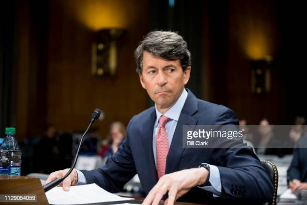 Mark Begor CEO of Equifax takes his seat for the Senate Homeland Security and Governmental Affairs Committee Investigations Subcommittee hearing on...