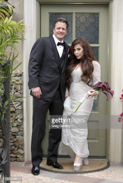 Mark Bellas and Brooke Lewis attend Brooke Mark's Marriage Soiree The Magic Of Hollywood at the Houdini Estate on June 01 2019 in Los Angeles...