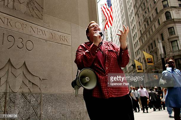Mark Bennett holds a religious sermon on a street corner June 6 2006 in New York City According to the Bible's Book of Revelation 666 is the mark of...