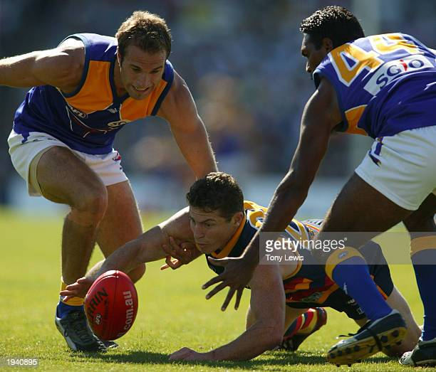 Mark Bickley of the Crows is boxed in by Chris Judd and David Sirrpunda of the Eagles during the round four AFL match between the Adelaide Crows and...