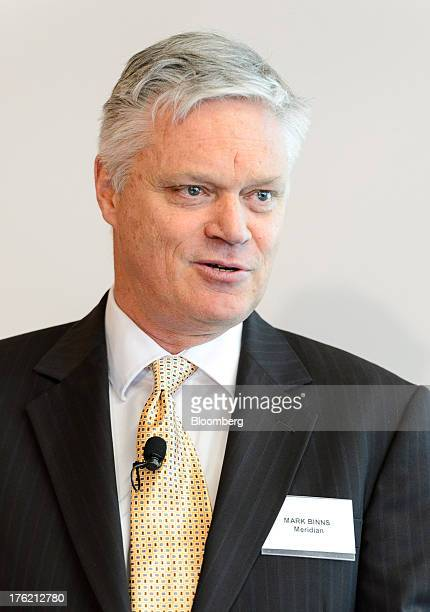 Mark Binns chief executive officer of Meridian Energy Ltd speaks during a news conference in Wellington New Zealand on Monday Aug 12 2013 Meridian...