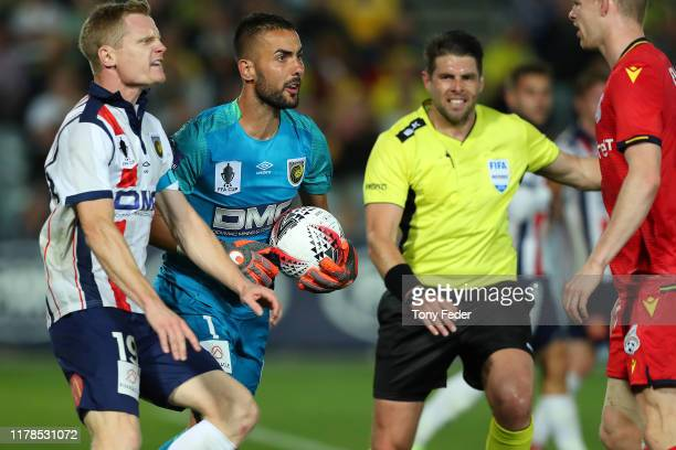 Mark Birighitti of the Central Coast Mariners in an altercation during the FFA Cup 2019 Semi Final between the Central Coast Mariners and Adelaide...